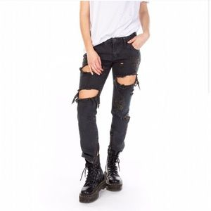 One Teaspoon | Free Bird Black Ripped Jeans